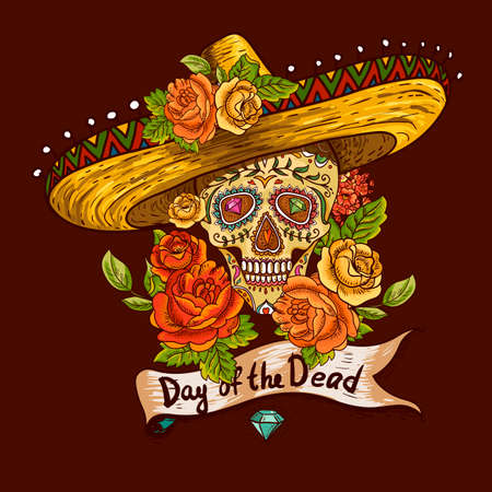calavera: Floral Background with Skull in Sombrero