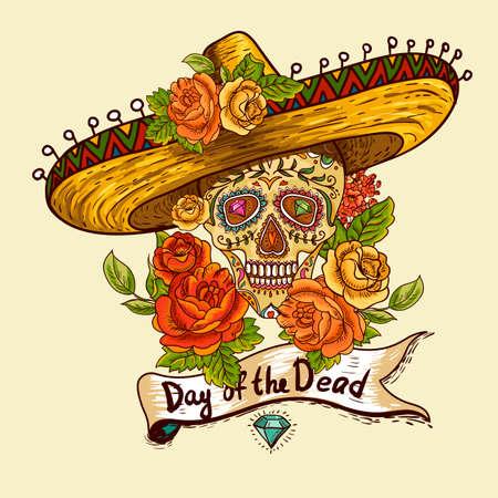 Floral Hintergrund mit Schädel im Sombrero