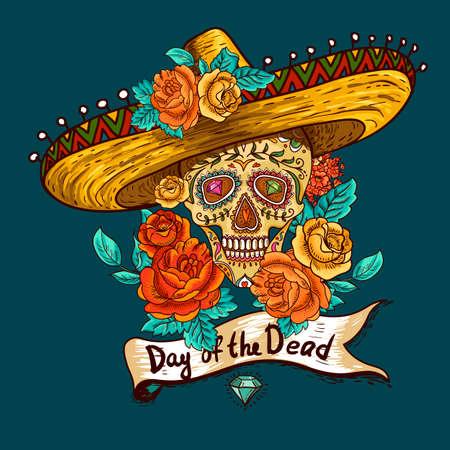 mariachi: Bloemen Achtergrond met Schedel in Sombrero Stock Illustratie