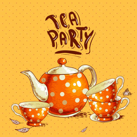 tea party: Tea party invitation card with a Cups and Pot