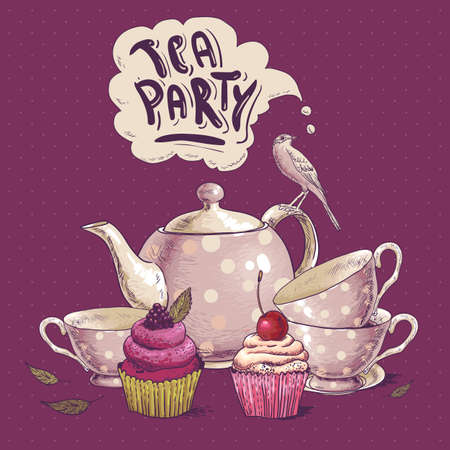 cup cakes: Tea party invitation card with a Cupcake and Pot  Illustration