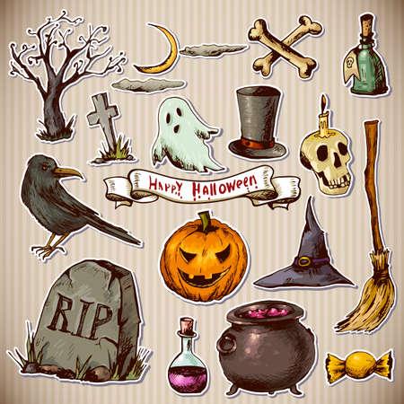 Set of Doodles Design Halloween Elements