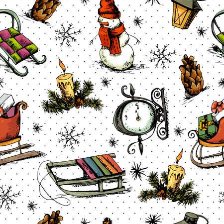 velas de navidad: Navidad sin fisuras de fondo dibujado a mano Vectores