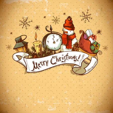 velas de navidad: Tarjeta de la invitación de Navidad dibujado a mano
