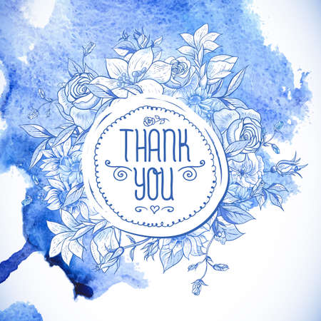 blue flowers: Vintage Blue Greeting Card with Flowers