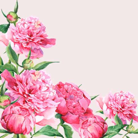Pink watercolor peonies vintage greeting card photo