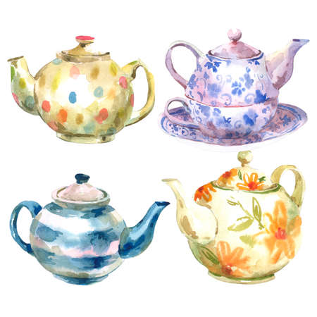 chinese watercolor: Set of watercolor teapot on a white background