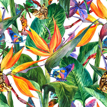 exotic butterflies: Tropical seamless pattern with exotic flowers