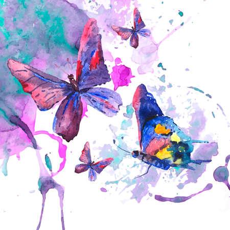 나비와 추상 수채화 배경 일러스트