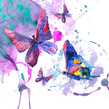 butterfly wings: Abstract watercolor background with butterflies