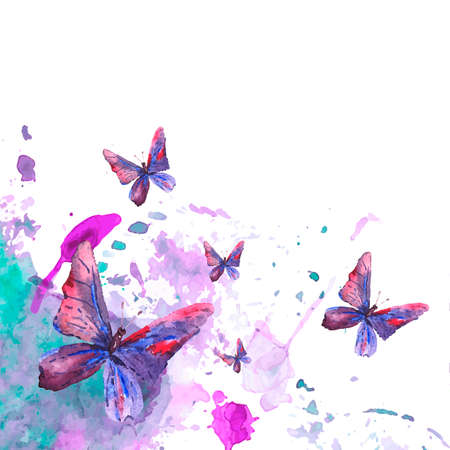 schmetterlinge blau wasserfarbe: Abstract Aquarell Hintergrund mit Schmetterlingen