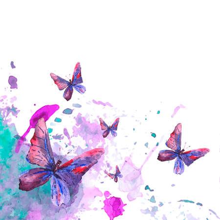 Résumé fond d'aquarelle avec des papillons Banque d'images - 32893996