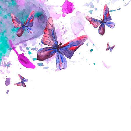 Abstract watercolor background with butterflies Stock Vector - 32894004