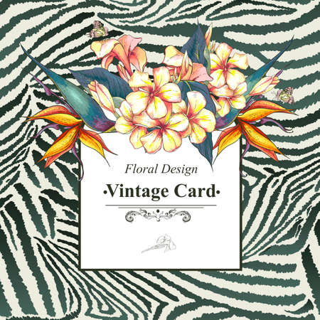 butterfly on flower: Vintage Card with Flowers on Zebra Background