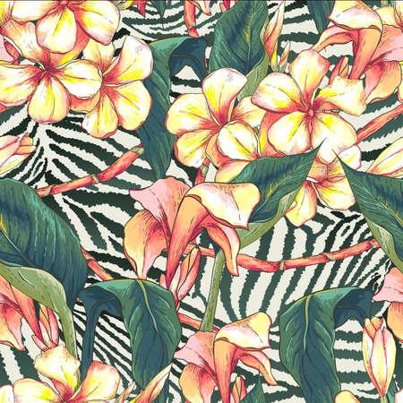 flores exoticas: Patr�n sin fisuras con flores ex�ticas Vectores