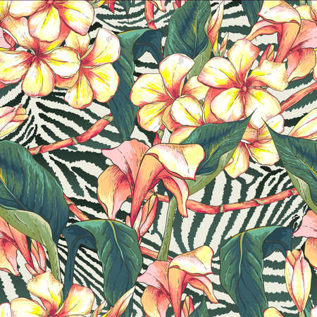 tropical flower: Seamless pattern with exotic flowers