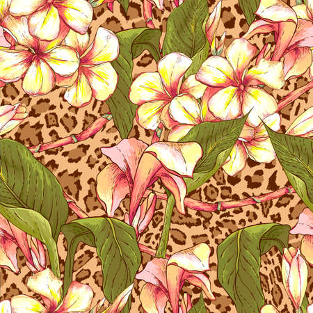 leopard: Seamless pattern with exotic flowers