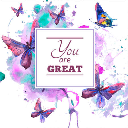 Abstract watercolor background with butterflies Stock Vector - 32990599