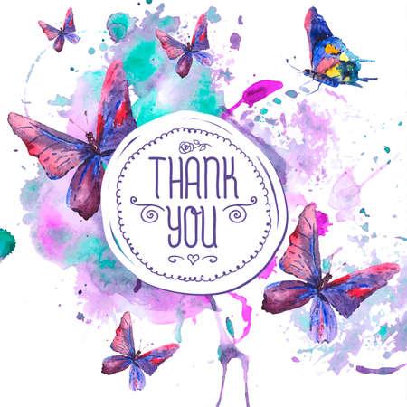 Résumé fond d'aquarelle avec des papillons Banque d'images - 32990664