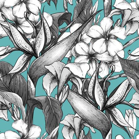 Zwart-wit naadloze patroon met exotische bloemen