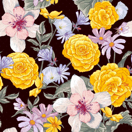 Seamless floral botanical pattern with wildflowers Vector