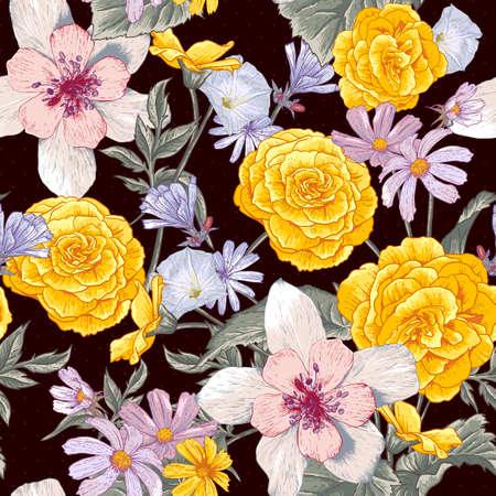 botanical gardens: Seamless floral botanical pattern with wildflowers Illustration