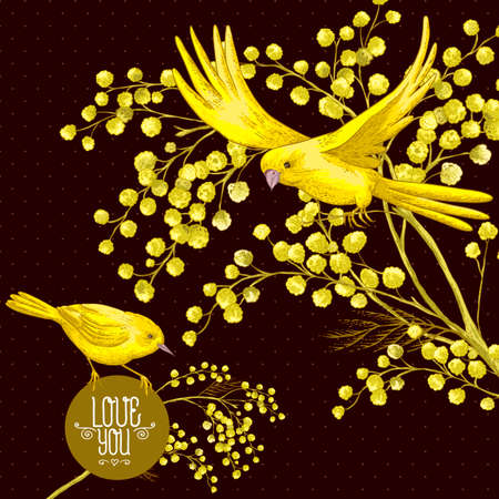 sprig: Sprig of Mimosa and Yellow Bird, Spring Background