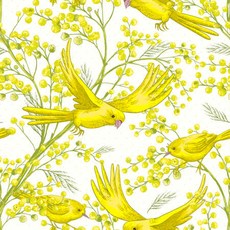 sprig: Seamless Pattern with Sprig of Mimosa