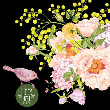 Spring Floral Bouquet with Birds, Greeting Card Vector