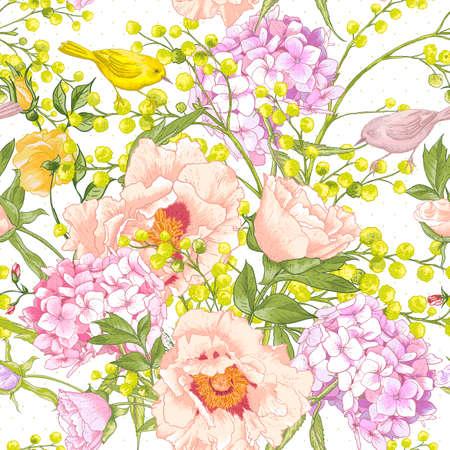 gentle: Gentle Spring Floral Seamless Background Illustration