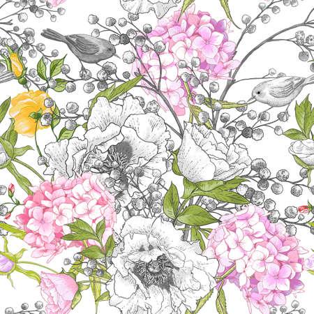 hydrangea: Seamless monochrome floral pattern with Birds