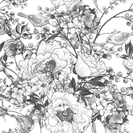 mimosa: Seamless monochrome floral pattern with Birds