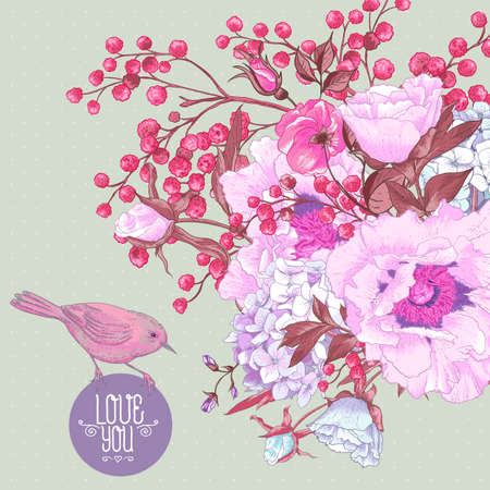 gentle: Gentle Spring Floral Bouquet with Birds Illustration