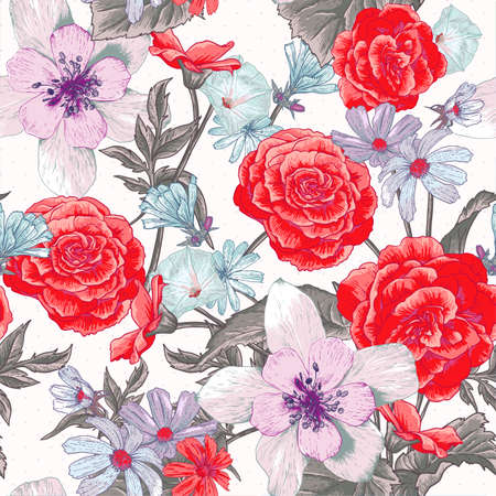 Colorful seamless floral pattern with wildflowers Illustration
