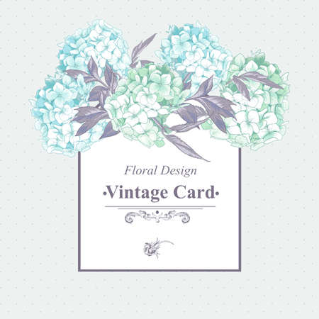Gentle Blue Vintage Floral Greeting Card Illustration