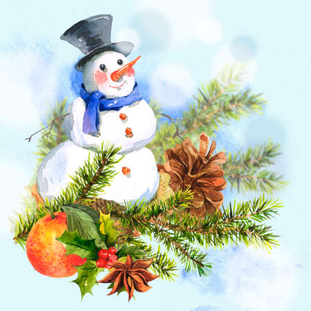 New Year Card with Snowman Cupcakes photo