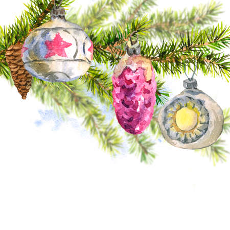 a sprig: Christmas Watercolor Card with Sprig of Fir Trees Stock Photo