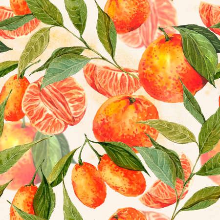 mandarin orange: Seamless Watercolor background with oranges