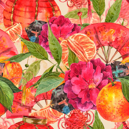chinese fan: Seamless Watercolor Chinese New Year Background