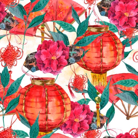 culture decoration celebration: Seamless Watercolor Chinese New Year Background