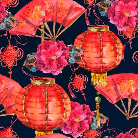 Seamless Aquarelle Nouvel An chinois Contexte Banque d'images - 34356455