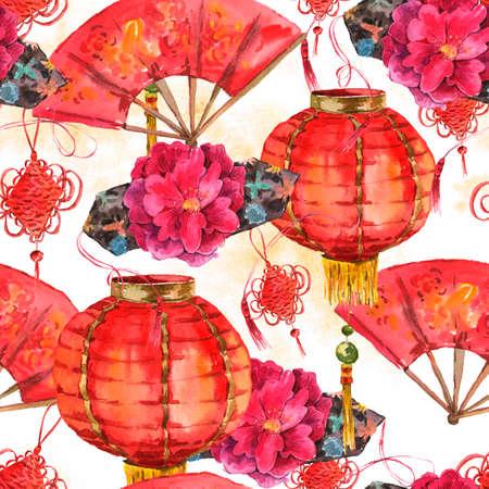 シームレスな水彩画の中国の旧正月の背景 写真素材