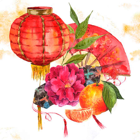 Watercolor Background Oriental Chinese New Year Element, Lights, Fan, Mandarin, Lotus, watercolor illustration.