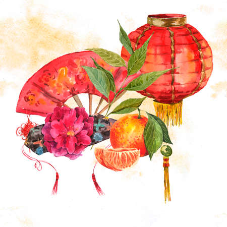 Aquarell-Hintergrund Oriental Chinese New Year Element, Lampen, Lüfter, Mandarine, Lotus, Aquarellillustration. Standard-Bild
