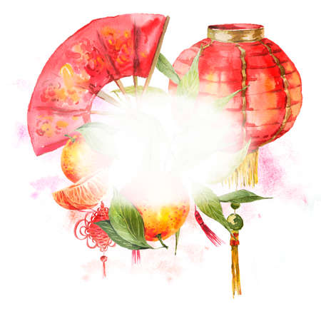 chinese fan: Watercolor Background Oriental Chinese New Year Element, Lights, Fan, Mandarin, Lotus, watercolor illustration.
