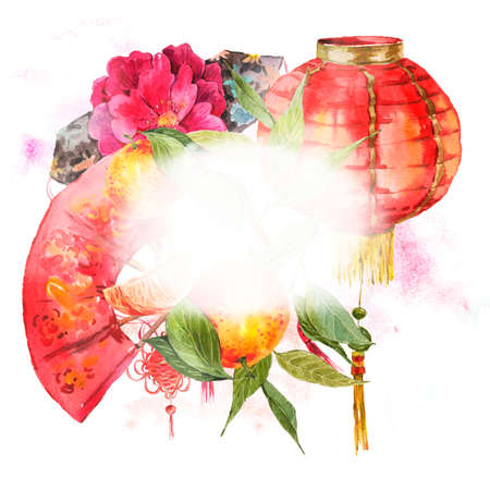 chinese watercolor: Watercolor Background Oriental Chinese New Year Element, Lights, Fan, Mandarin, Lotus, watercolor illustration.