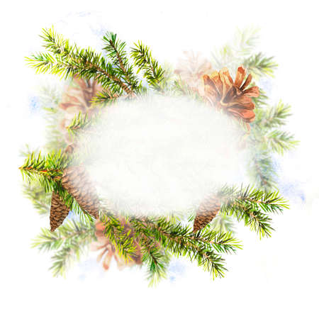 christmas watercolor: Christmas Watercolor New Year card with Sprig of Fir Trees and Pine cones, watercolor illustration. Stock Photo