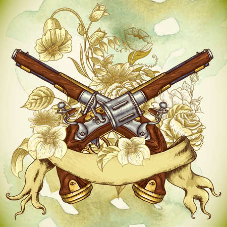 revolver: Vintage card with a gun and flowers Illustration