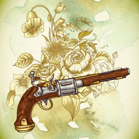 flintlock: Vintage card with a gun and flowers Illustration
