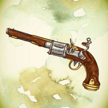 colt: Vintage card with a gun and flowers Illustration